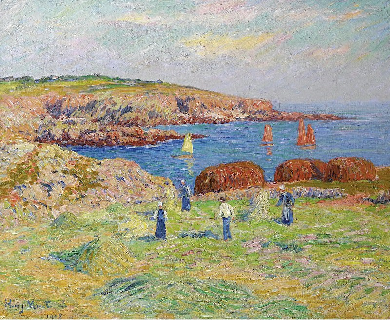 Henry Moret - Hay Stacking at the Port of Doelan, 1908. Sotheby's