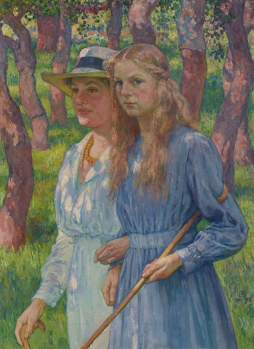 Theo van Rysselberghe - Portrait of Madame Schlumberger and Her Daughter, 1918. Sotheby's