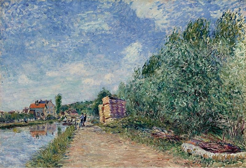 Alfred Sisley - The Loing Channel, Tow-Path, 1882. Картины с аукционов Sotheby's