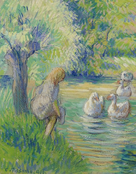 Camille Pissarro - The Shepperdess and the Geese, Eragny, 1890. Sotheby's