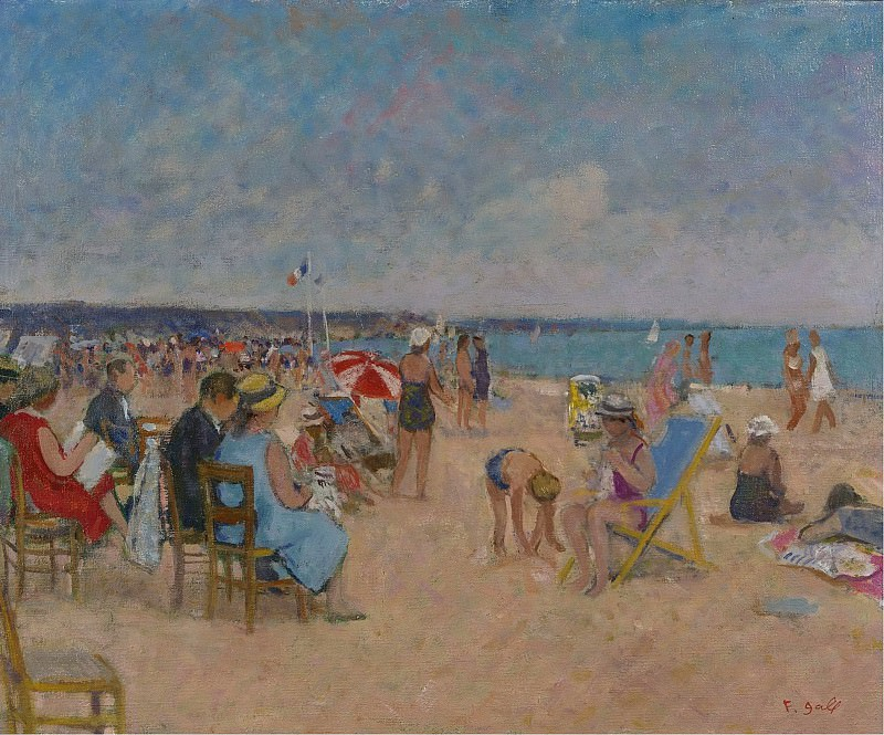 Francois Gall - The Gall Family at the Beach of Trouville, 1970. Картины с аукционов Sotheby's