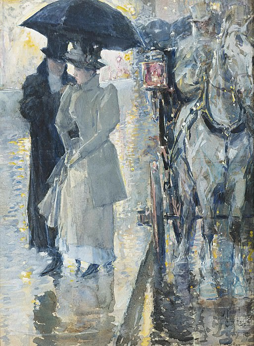Frederick Childe Hassam - Rainy Day, New York, 1892. Sotheby's