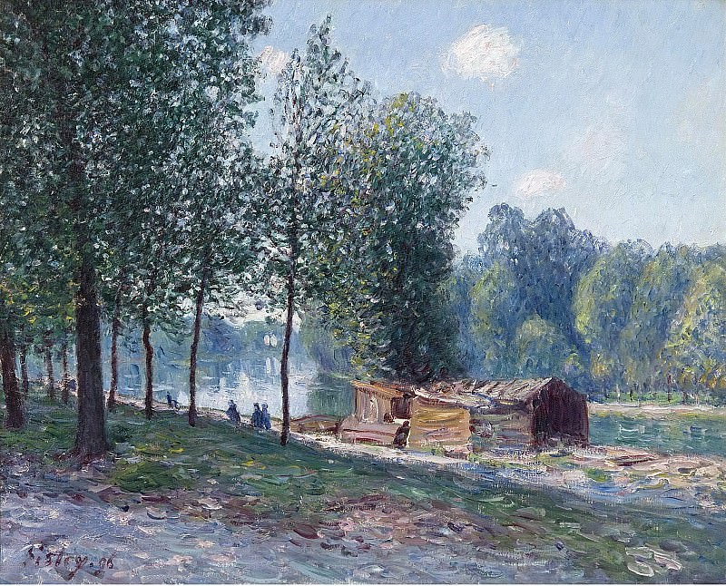 Alfred Sisley - Cabins at the Bank of Loing, Morning Effect, 1896. Картины с аукционов Sotheby's