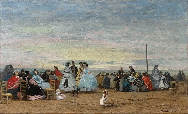 Eugene Boudin - Scene on the Beach, Trouville, 1864. Sotheby's