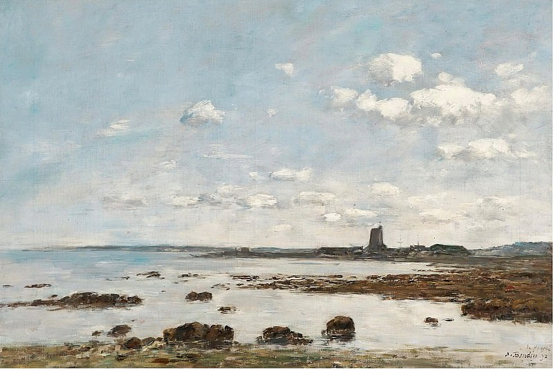 Eugene Boudin - Saint-Vaast-la-Hougue, the Rocks and the Fort, 1892. Sotheby's
