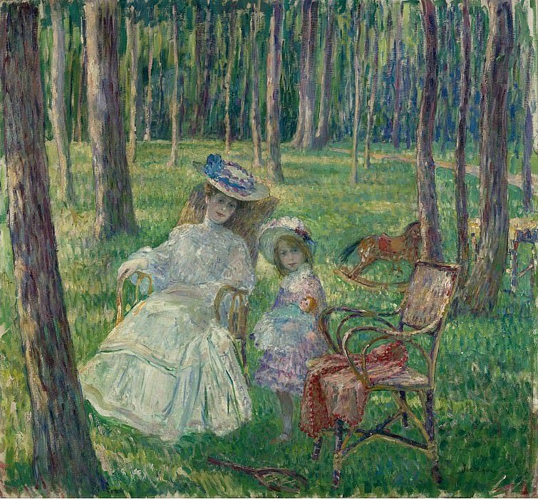 Henri Lebasque - Mother and Daughter in the Park, 1905. Картины с аукционов Sotheby's