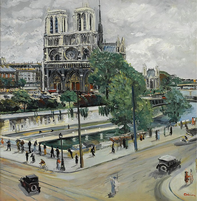 Lucien Adrion - Paris, Notre Dame, the Seine and the Quay. Sotheby's