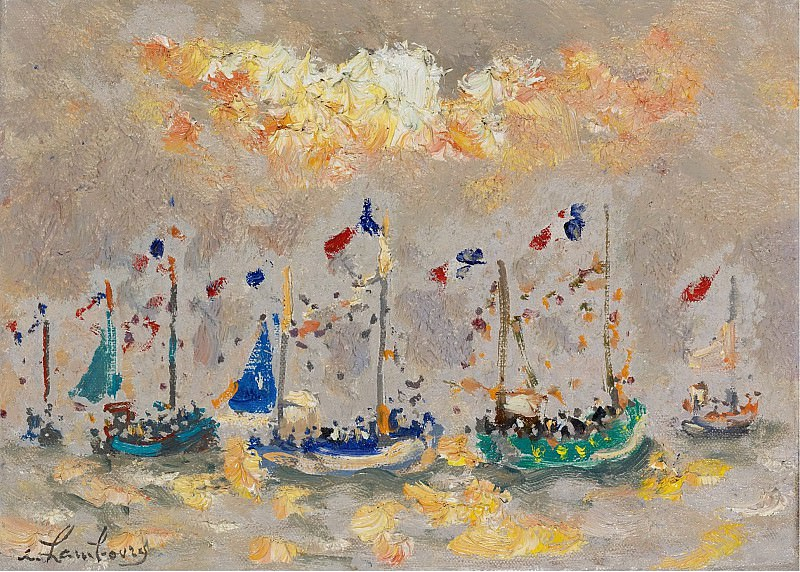 Andre Hambourg - The Boats at Hollyday, 1973. Sotheby's