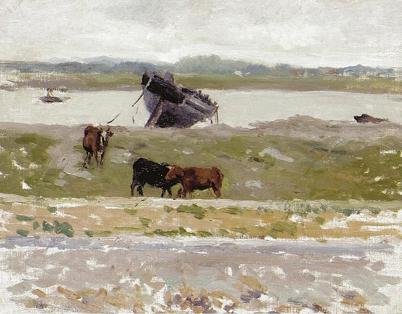 Henri Le Sidaner - The Cows near an Old Boat, Etaples, 1887. Sotheby's