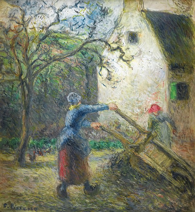 Camille Pissarro - Woman Empting the Hand-Cart, 1880. Картины с аукционов Sotheby's