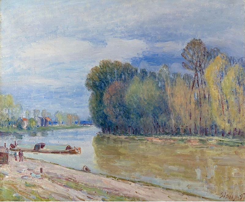 Alfred Sisley - The Channel of Loing in Spring - Morning, 1897. Картины с аукционов Sotheby's