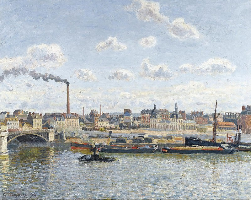 Camille Pissarro - The Bridge of Boieldieu and the Orleans Station, Rouen, Sunny Day, 1898. Картины с аукционов Sotheby's