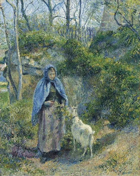 Camille Pissarro - The Shepherdess and the Goat, 1881. Sotheby's