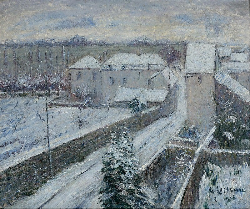 Gustave Loiseau - View of Triel under the Snow, 1916. Sotheby's