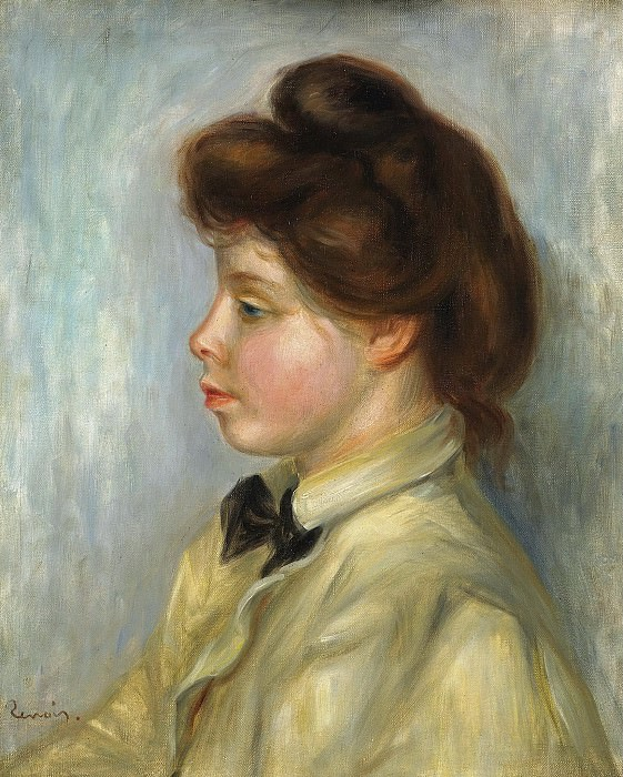 Pierre Auguste Renoir - Young Woman with Black Tie, 1897-98. Картины с аукционов Sotheby's