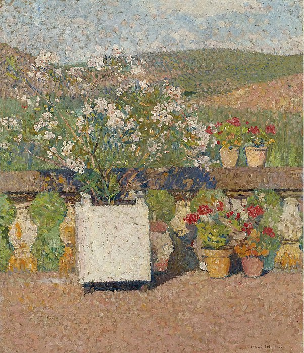 Henri Martin - Flower Box with Rose-Bush and Pots with Geranium on the Terrace of Marquayrol in Summer. Sotheby's