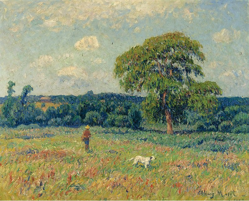 Henry Moret - Landscape with a Hunter and His Dog, 1901. Sotheby's