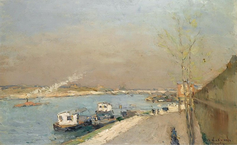 Albert Lebourg - Quay of the Seine, Spring Morning. Sotheby's