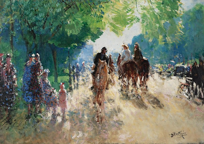 Pierre-Eugene Montezin - The Forest of Boulogne, the Alley with Horsemen. Sotheby's