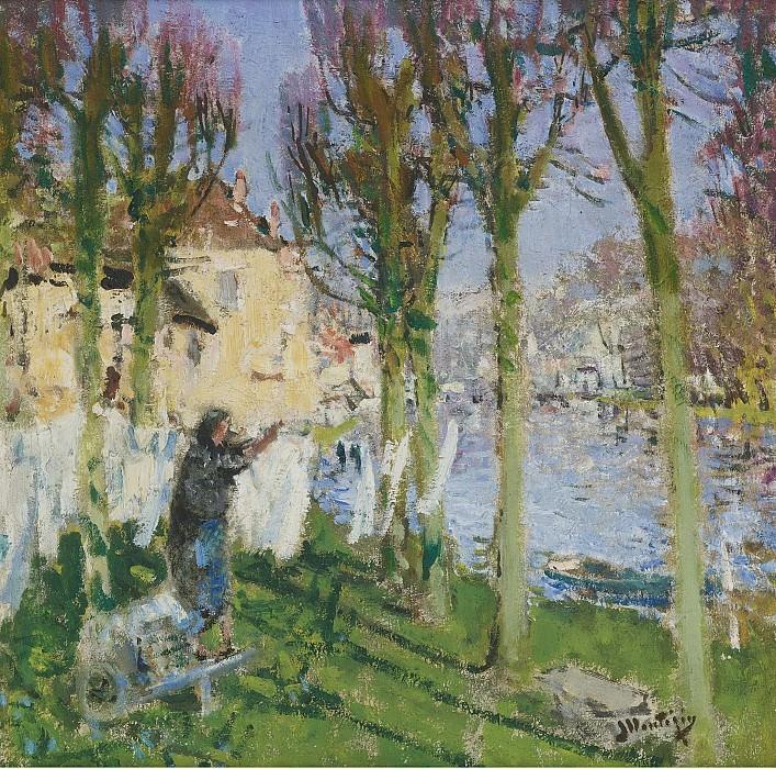 Pierre-Eugene Montezin - Laundress Hanging Washing. Sotheby's
