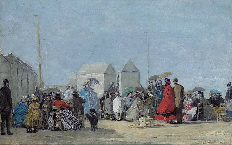 Eugene Boudin - Scene on the Beach at Trouville, 1864. Sotheby's