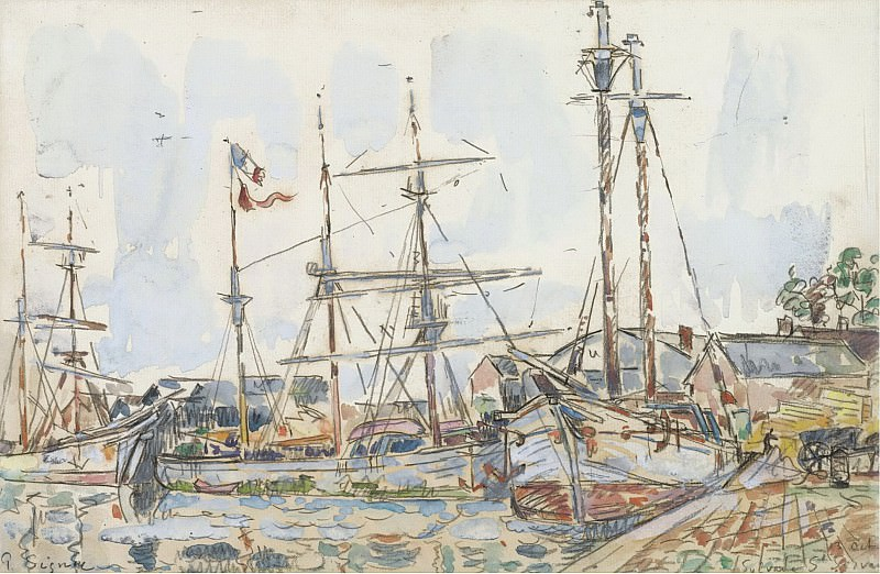Paul Signac - The Port of Saint-Servan, 1929. Sotheby's