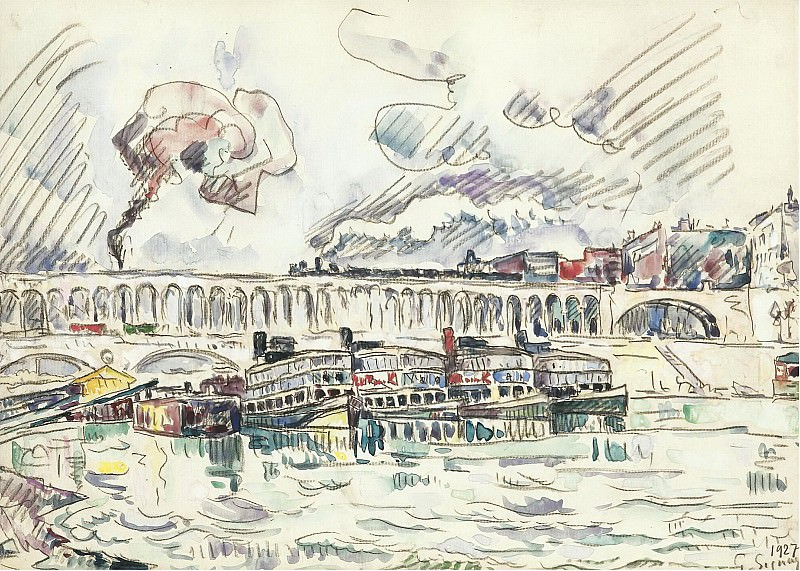 Paul Signac - The Viaduct and Mouche Bridge at Auteuil, 1927. Картины с аукционов Sotheby's