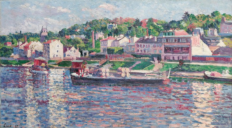 Maximilien Luce - Bas-Meudon, the Barge on the River, 1897. Sotheby's