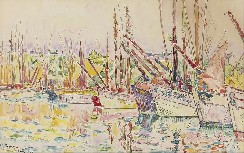 Paul Signac - The Boats, Groix, 1923. Картины с аукционов Sotheby's