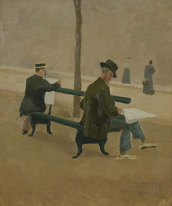 Charles Lacoste - Reading Men on a Bench and Women Passing By, 1893. Картины с аукционов Sotheby's