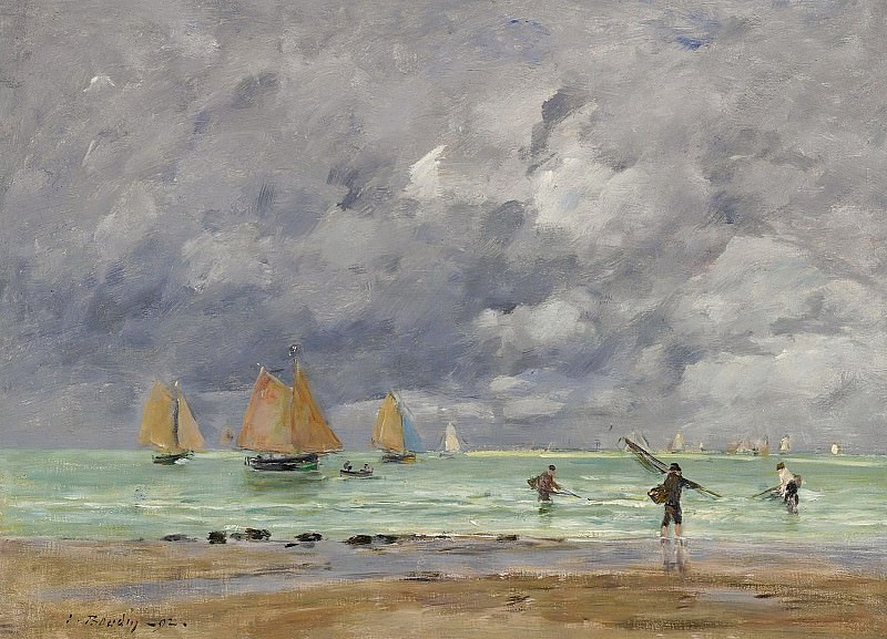Eugene Boudin - Fishers and Boats near Trouville, 1892. Картины с аукционов Sotheby's
