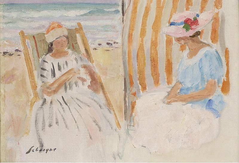 Henri Lebasque - Two Young Women on the Beach of Saint-Jean-de-Monts. Картины с аукционов Sotheby's