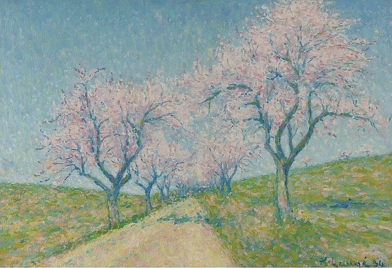 Achille Lauge - The Road Boarding by Almond-Trees in Bloom, 1934. Sotheby's