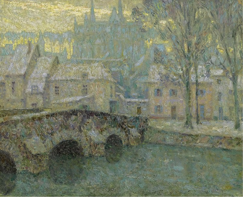 Henri Le Sidaner - Chartres in Snow, 1918. Sotheby's