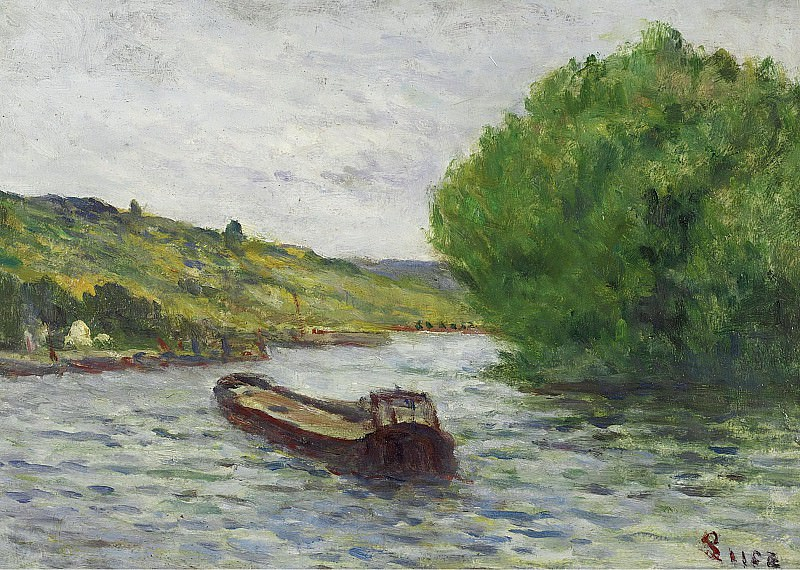 Maximilien Luce - Rolleboise, Barge on the Seine. Sotheby's