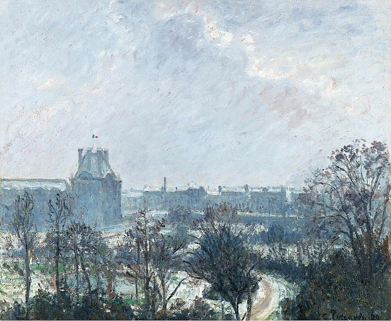 Camille Pissarro - The Garden of Tuileries and Pavilion de Flore, Snow Effect, 1899. Картины с аукционов Sotheby's