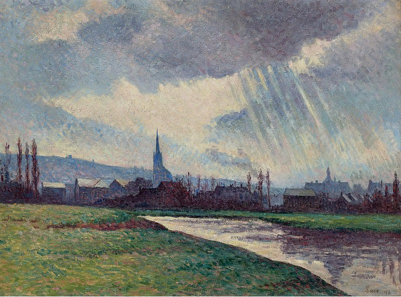 Maximilien Luce - Landscape of the Riverbanks, 1896. Sotheby's