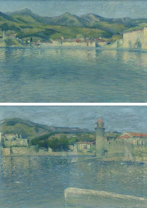 Achille Lauge - View of the Port of Collioure from the Point of Saint-Vincent (diptych), 1928. Sotheby's