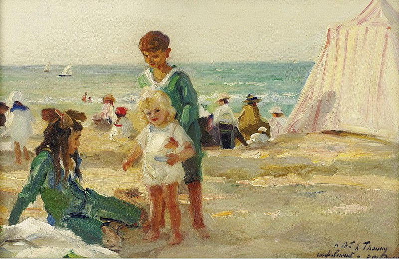 Paul Michel Dupuy - On the Beach at Deauville. Sotheby's