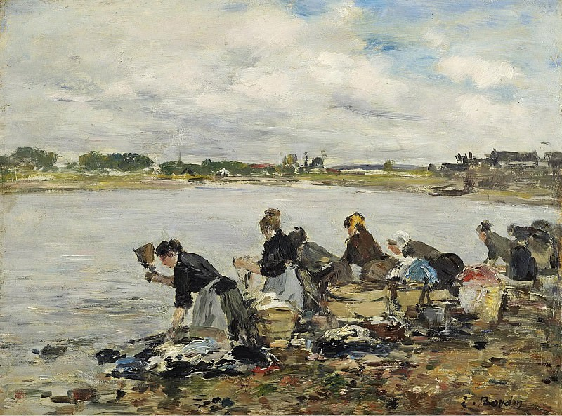 Eugene Boudin - Laundresses at the bank of the Touques, 1888-95. Sotheby's