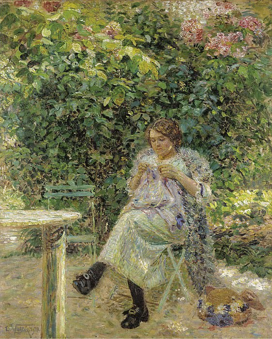 Ludovic Vallee - Sewing Woman Sitting in the Garden, 1913. Sotheby's