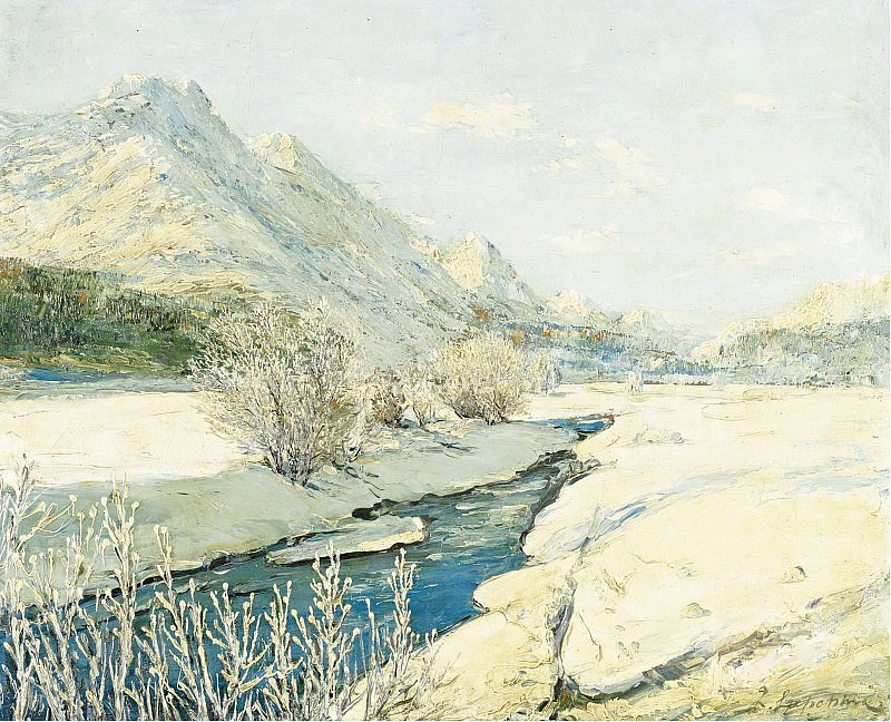 Georgy Lapchin - Valley Stream in the Snow. Картины с аукционов Sotheby's