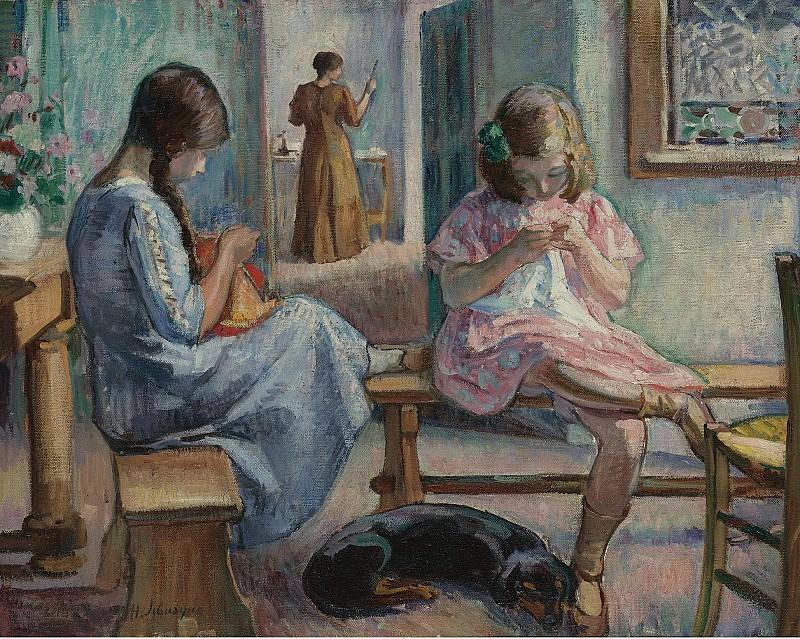 Henri Lebasque Sewing Girls. Sotheby's