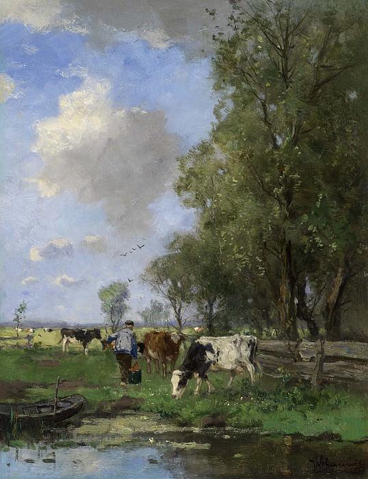Johan Frederik Cornelis Scherrewitz Figure with Cows in a Meadow 16348 2426. часть 3 - европейского искусства Европейская живопись