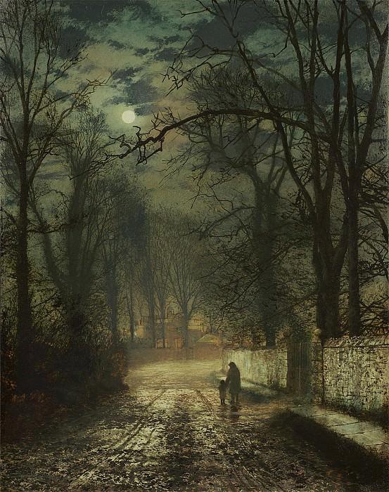 John Atkinson Grimshaw A moonlit lane 98539 20. часть 3 - европейского искусства Европейская живопись