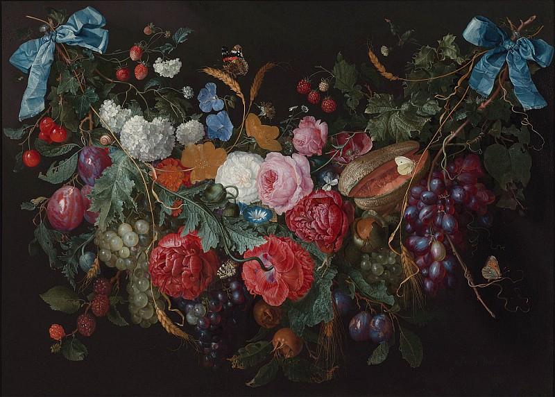 Jacob van Walscapelle A Swag of flowers 1646 20. часть 3 - европейского искусства Европейская живопись