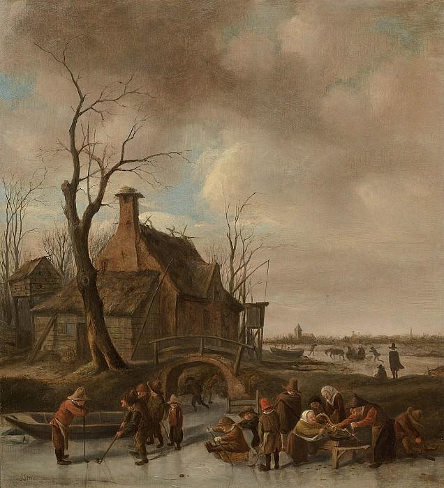 Jan Steen A winter landscape with young kolf players on a frozen river 28174 20. часть 3 -- European art Европейская живопись