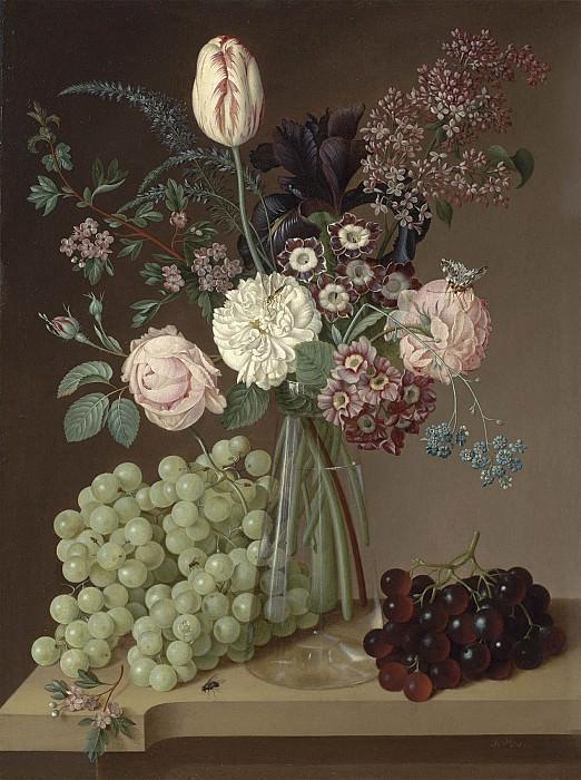 Jan Vos Flowers in a glass vase on a table top with grapes 100439 20. часть 3 -- European art Европейская живопись