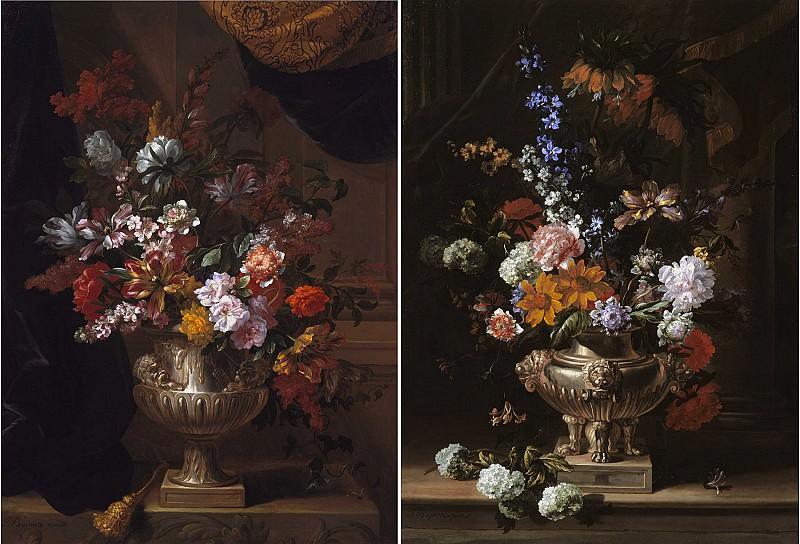 Jean Baptiste Monnoyer Flowers in a sculpted urns on a ledges 99539 20. часть 3 - европейского искусства Европейская живопись