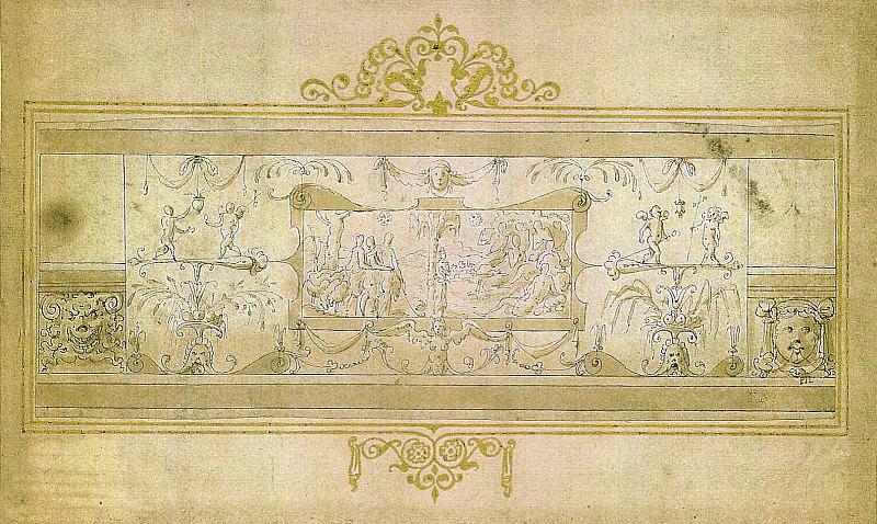 LIVIO AGRESTI Ornamental Frieze with Grotteschi and Cartouche 11330 172. часть 3 -- European art Европейская живопись